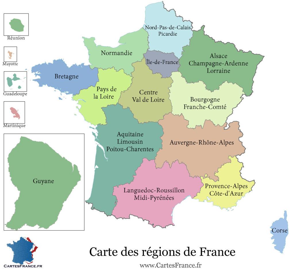 новая карта регионов франции