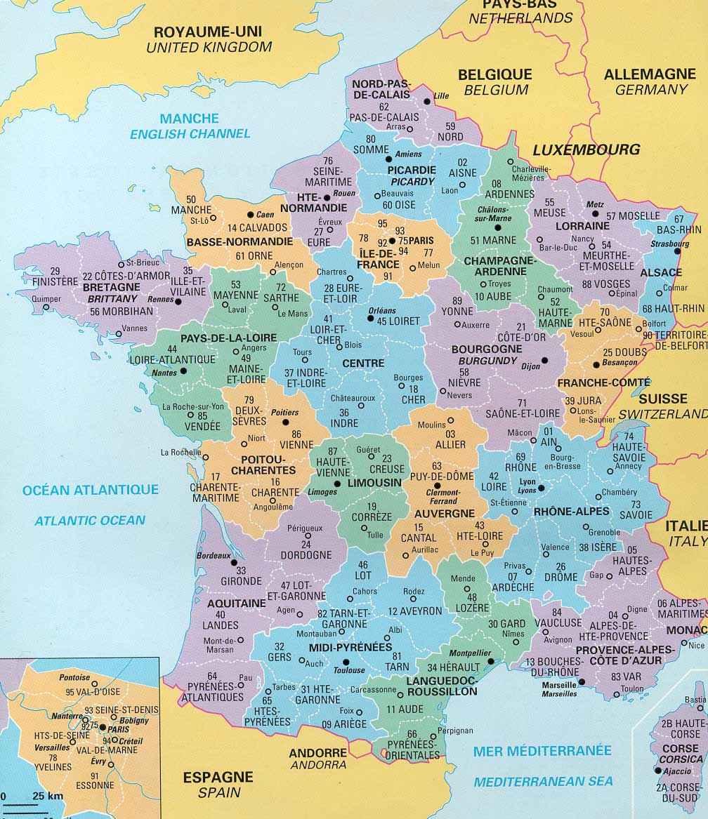 Administrativnaya Karta Francii Regiony
