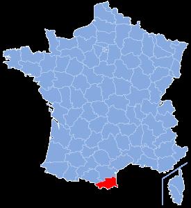 департамент Восточные Пиренеи на карте Франции