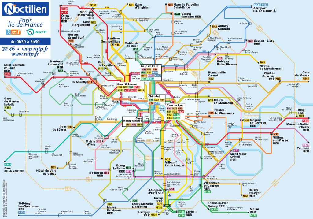 план схема ночных автобусов парижа