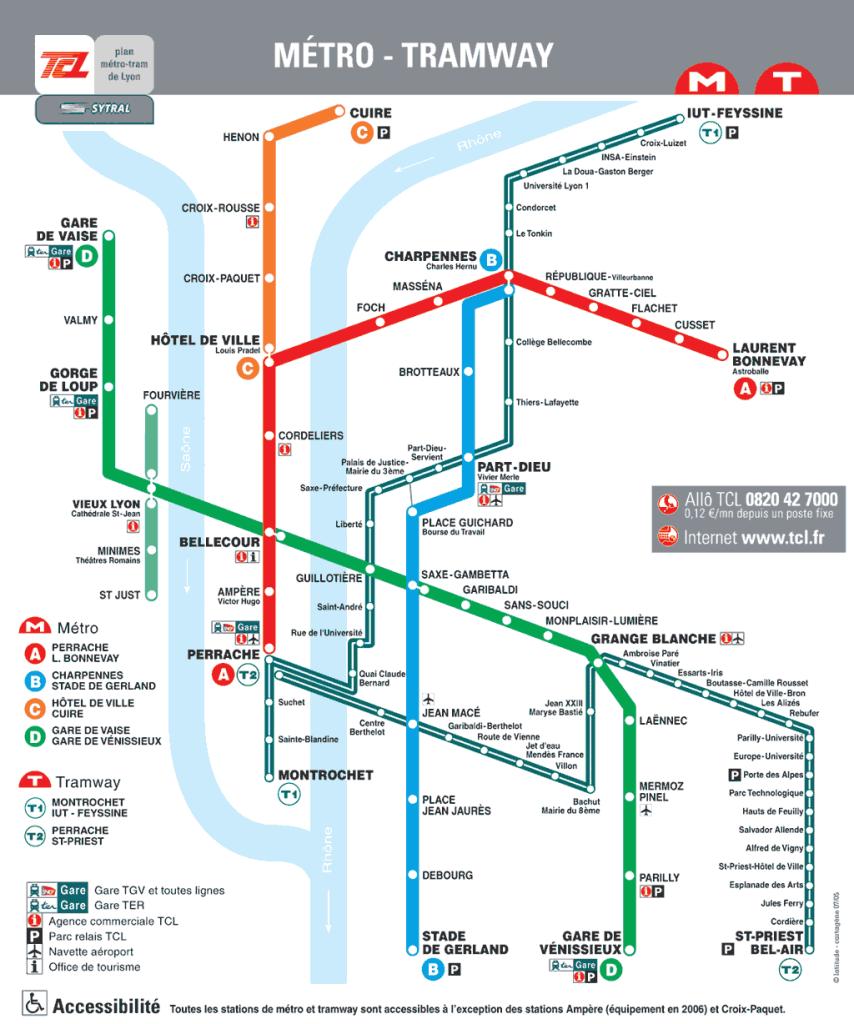 схема метро лиона